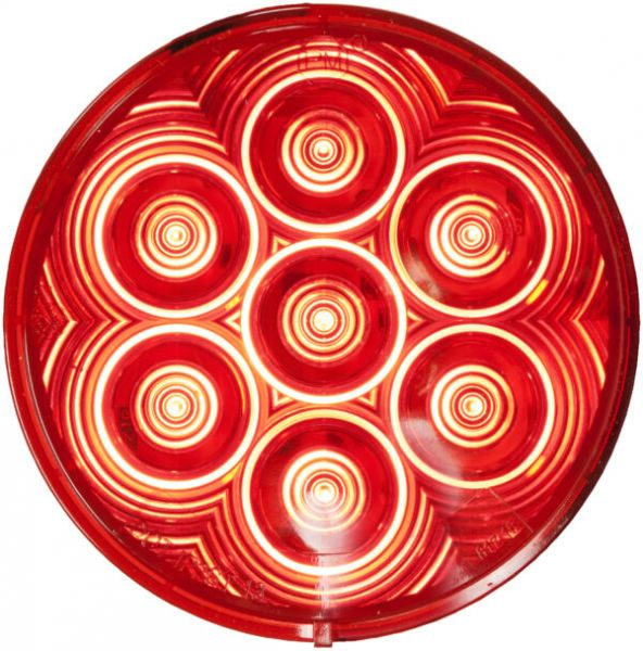 """LumenX 4"""" Red Round Grommet Mount LED Combination Tail Light"""